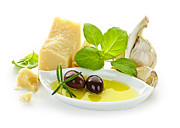 Olive Oil Photo Framed Prints - Italian flavors Framed Print by Elena Elisseeva