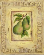 Plaque Painting Posters - Italian Fruit Pears Poster by Marilyn Dunlap