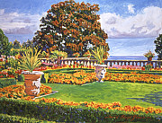 Gardenscape Paintings - Italian Gardens Ocean View by  David Lloyd Glover