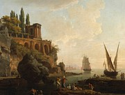 Sailboat Ocean Framed Prints - Italian Harbor Scene Framed Print by Vernet