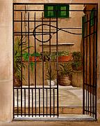 Residential Paintings - Italian Iron Gate by Nan Wright