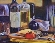 Italian Meal Painting Posters - Italian Kitchen Poster by Donna Tuten