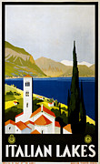 Italian Landscape Digital Art Prints - Italian Lakes Print by Nomad Art And  Design