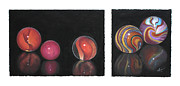 Multicolor Pastels Prints - Italian Marbles One Print by Flo Hayes