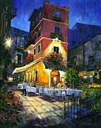 Cafe Art Posters - Italian Nights Poster by Michael Swanson