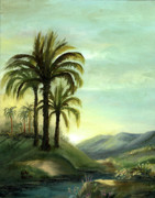 Original Oil Paintings - Italian Palms by Cecilia  Brendel