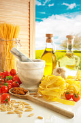 Olive Oil Photo Prints - Italian Pasta In Country Kitchen Print by Christopher and Amanda Elwell