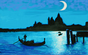 Moonscape Painting Prints - Italian PostCard-Venetian Moon Print by Susi Franco