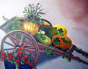 Outdoor Still Life Painting Prints - Italian Pumpkins Print by Darla Freeman