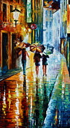 Old Street Paintings - Italian Rain by Leonid Afremov