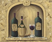 Wine-glass Paintings - Italian Reds by Marilyn Dunlap