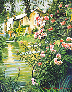 Popular Paintings - Italian River by David Lloyd Glover