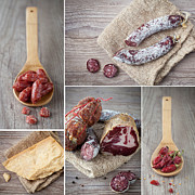 Italian Kitchen Framed Prints - Italian salami collage Framed Print by Sabino Parente