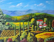 Realistic Mixed Media Originals - Italian Scene by Ksusha Scott