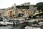 Boats In The Harbor Prints - Italian Seaside Village Print by Jim  Calarese