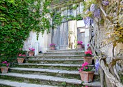 Europe Photo Originals - Italian Staircase With Flowers by Marilyn Dunlap