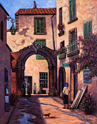 Peaceful Painting Originals - Italian Street by Ricardo Chavez-Mendez