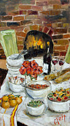 Pinot Painting Prints - Italian Table Print by Carole Foret
