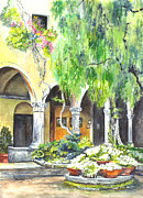 Buildings Drawings - Italian Villa by Carol Wisniewski