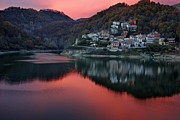 Italian Sunset Digital Art Posters - Italian Village Sunset  Poster by Chet  Dembeck