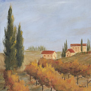 Autumn Vineyards Paintings - Italian Vineyards II by Logan Gerlock