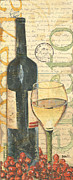 Red Wine Bottle Painting Posters - Italian Wine and Grapes 1 Poster by Debbie DeWitt