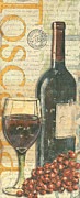 Vintage Blue Posters - Italian Wine and Grapes Poster by Debbie DeWitt