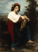 Neo-classical Framed Prints - Italian woman with a tambourine Framed Print by William Adolphe Bouguereau