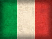 Italian Mixed Media Prints - Italy Flag Vintage Distressed Finish Print by Design Turnpike