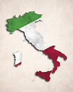 Sicily Digital Art Posters - Italy Map Art with Flag Design Poster by World Art Prints And Designs