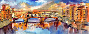 Travel Destinations Paintings - Italy Ponte Vecchio Florence by Ginette Callaway