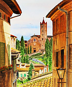 Roofs Paintings - Italy Siena by Irina Sztukowski