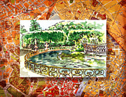 Old Map Painting Prints - Italy Sketches Florence Boboli Gardens of Pitti Palace Print by Irina Sztukowski