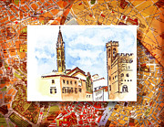 Old Map Painting Prints - Italy Sketches Florence Towers Print by Irina Sztukowski