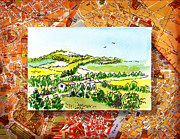 Vintage Map Painting Prints - Italy Sketches from Florence to Rome Print by Irina Sztukowski