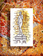 Watercolor Map Paintings - Italy Sketches Michelangelo David by Irina Sztukowski