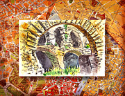 Watercolor Map Paintings - Italy Sketches Roman Ruins of Forum by Irina Sztukowski