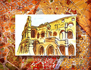 Antique Map Paintings - Italy Sketches Rome Colosseum Ruins by Irina Sztukowski