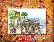 Vintage Map Painting Prints - Italy Sketches Sorrento Cliff Print by Irina Sztukowski