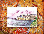 Vintage Map Painting Prints - Italy Sketches Sorrento Rocky Shore Print by Irina Sztukowski