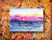 Old Map Painting Prints - Italy Sketches Sorrento Sunset Print by Irina Sztukowski