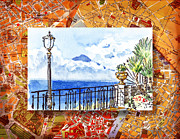 Travel Sketch Posters - Italy Sketches Sorrento View On Volcano Vesuvius  Poster by Irina Sztukowski