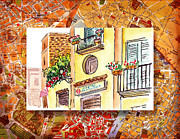 Vintage Map Painting Prints - Italy Sketches Streets Of Sorrento  Print by Irina Sztukowski