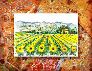 Vintage Map Painting Framed Prints - Italy Sketches Sunflowers of Tuscany Framed Print by Irina Sztukowski