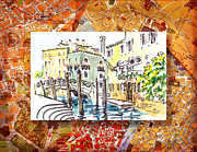 Antique Map Painting Metal Prints - Italy Sketches Venice Canale Metal Print by Irina Sztukowski