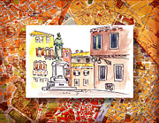 Vintage Map Painting Framed Prints - Italy Sketches Venice Piazza Framed Print by Irina Sztukowski