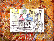 Gondola Ride Prints - Italy Sketches Venice Two Gondoliers Print by Irina Sztukowski