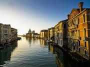 Italian Sunset Posters - Italy, Venice, Buildings Along Canal Poster by Richard Desmarais