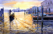Watercolor Framed Prints - Italy Venice Dawning Framed Print by Yuriy Shevchuk