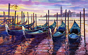 Boat Painting Posters - Italy Venice Early Mornings Poster by Yuriy Shevchuk